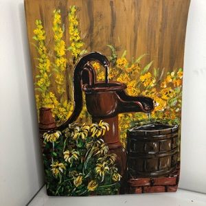 Wall Art yellow flowers painted on wood
